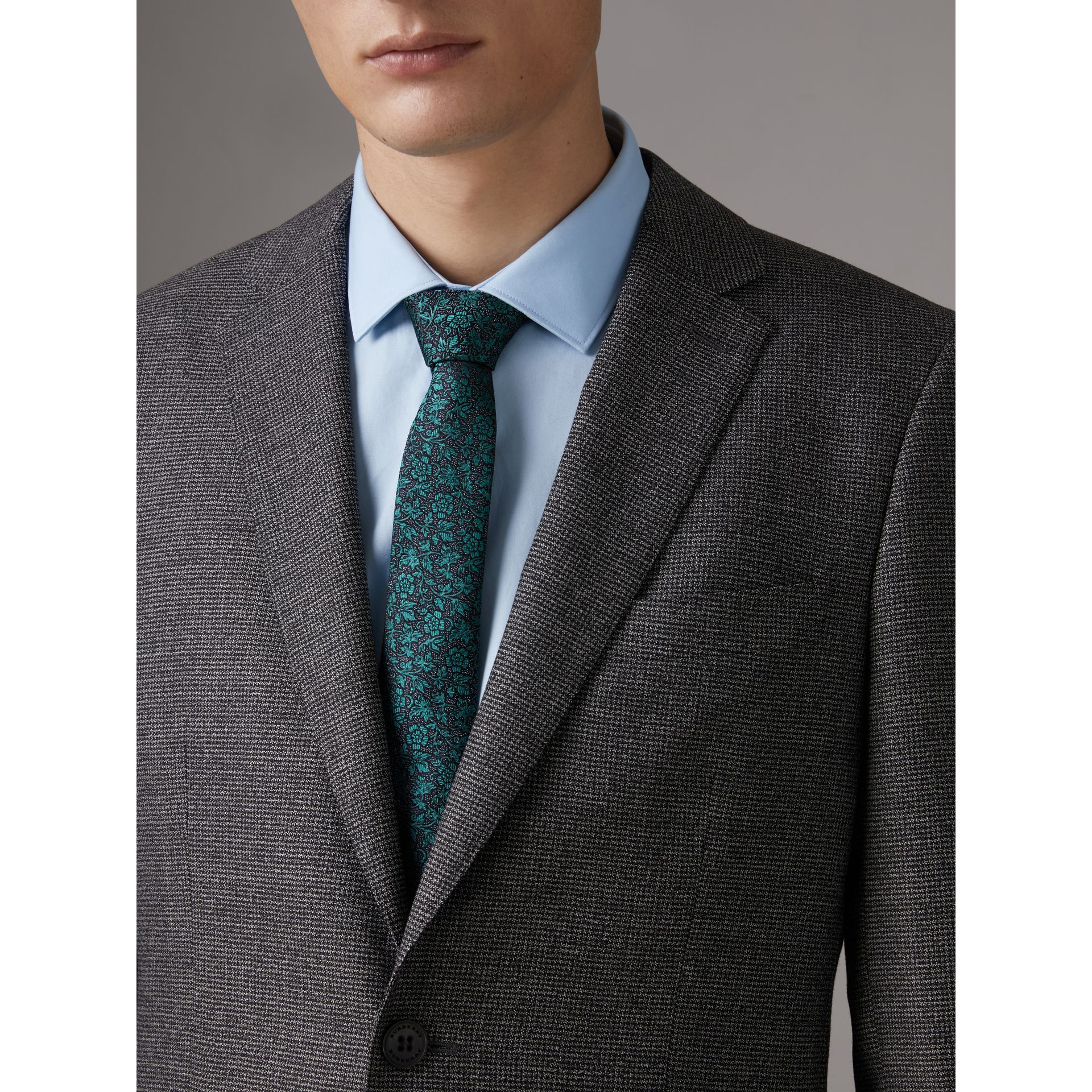 Slim Cut Floral Jacquard Silk Tie in Dark Teal - Men | Burberry - gallery image 3