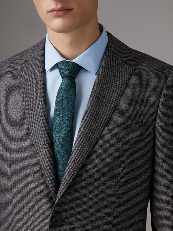 Slim Cut Floral Jacquard Silk Tie in Dark Teal - Men | Burberry - cell image 2