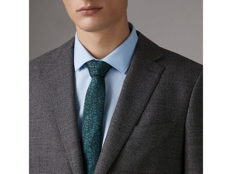 Slim Cut Floral Jacquard Silk Tie in Dark Teal - Men | Burberry Canada - cell image 2