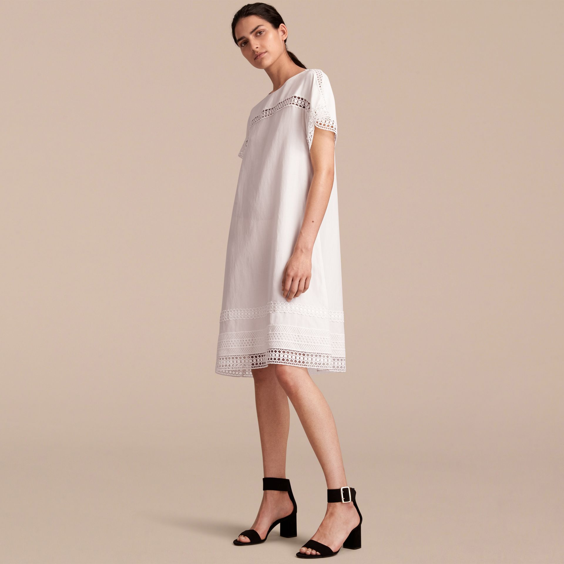Macramé Lace Detail Silk Linen Cotton Dress - gallery image 6