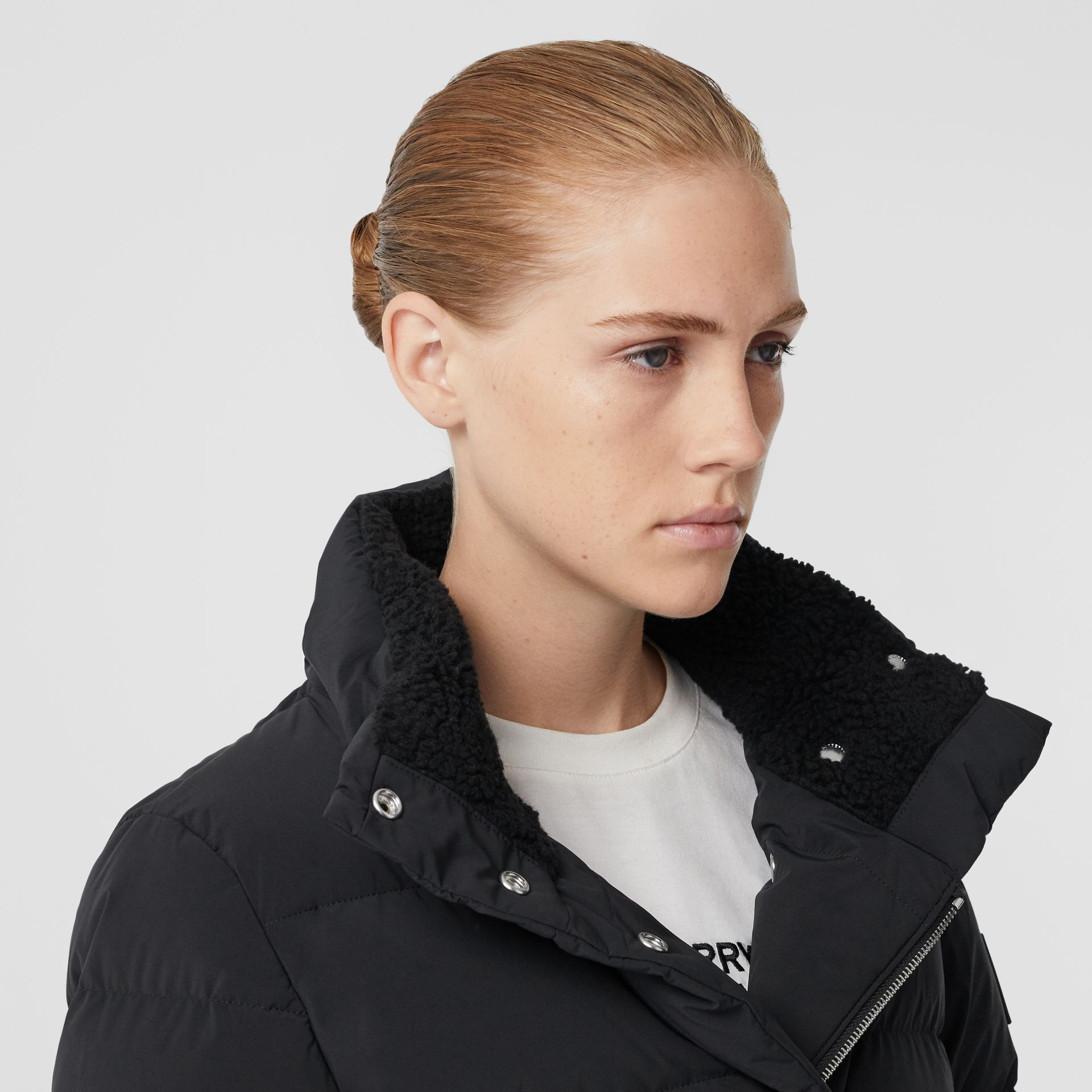 Detachable Hood Belted Puffer Coat in Black - Women | Burberry - gallery image 1
