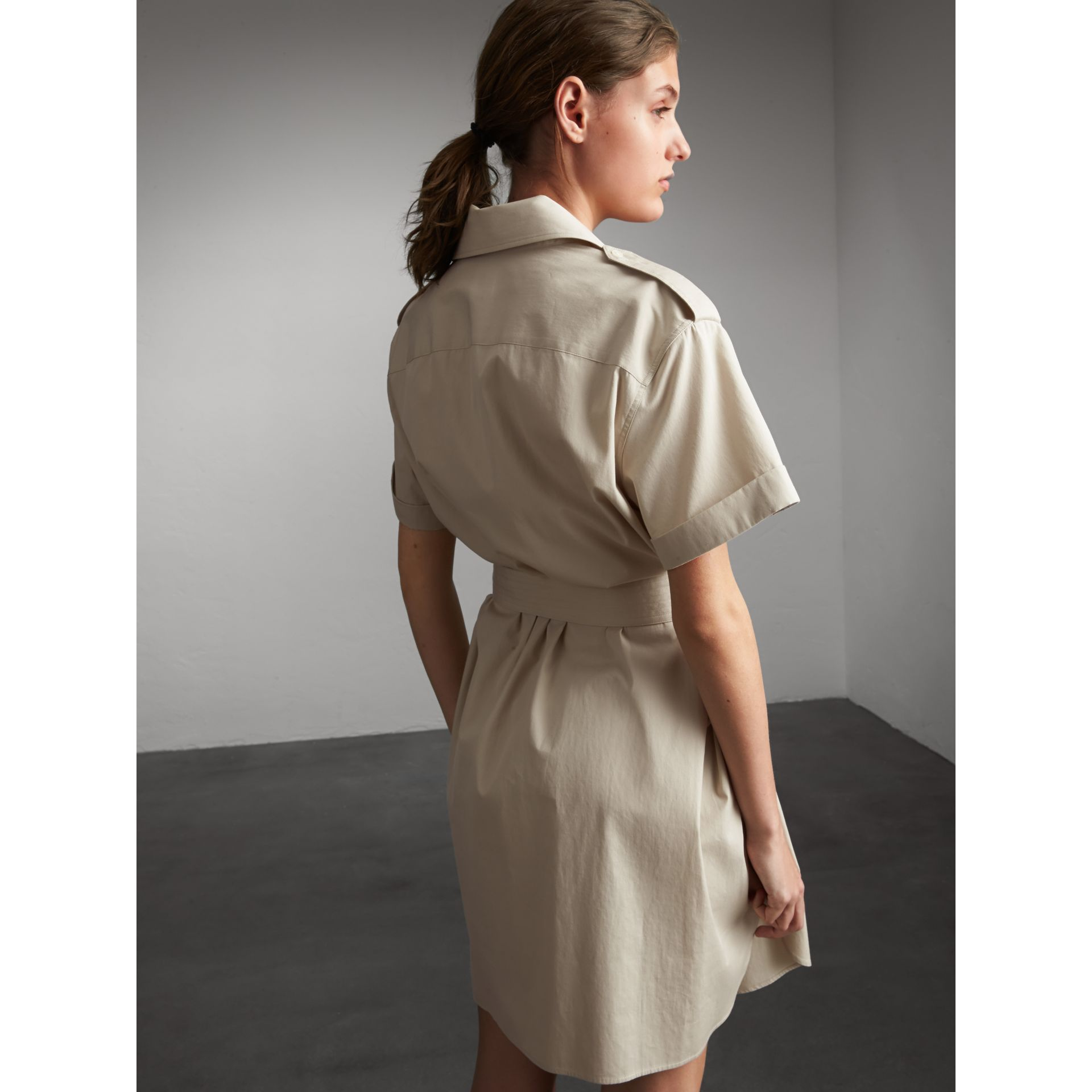 Tie-waist Cotton Shirt Dress in Stone - Women | Burberry Canada - gallery image 3