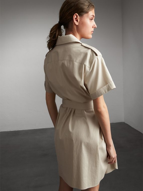 Tie-waist Cotton Shirt Dress in Stone - Women | Burberry Canada - cell image 2