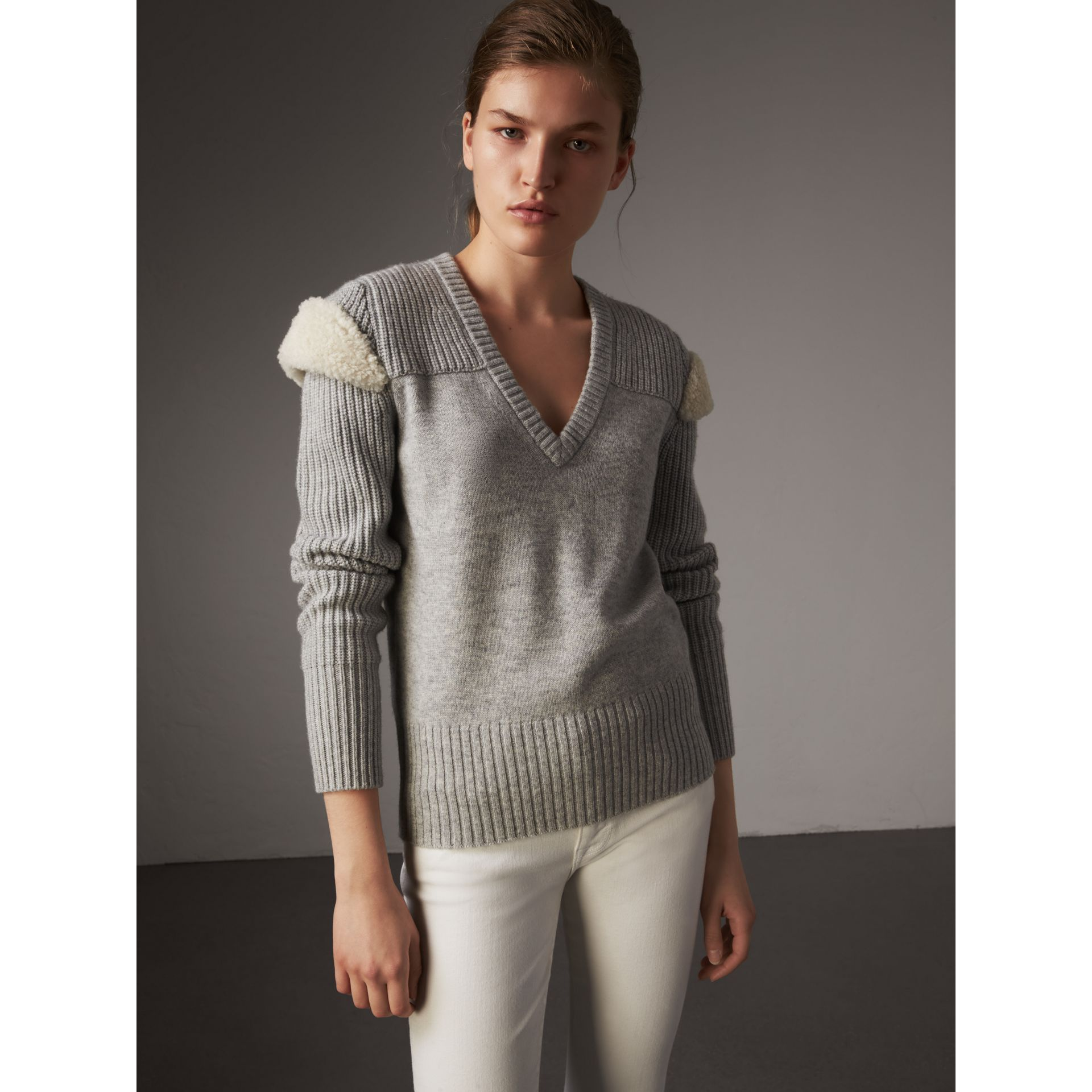 Shearling Trim Ribbed Wool Cashmere Sweater in Pale Grey Melange - Women | Burberry - gallery image 1