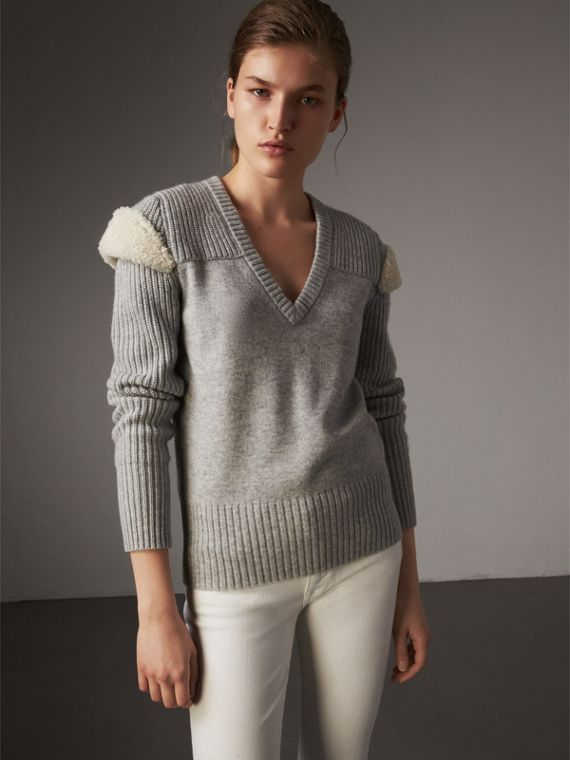 Shearling Trim Ribbed Wool Cashmere Sweater in Pale Grey Melange - Women | Burberry Singapore