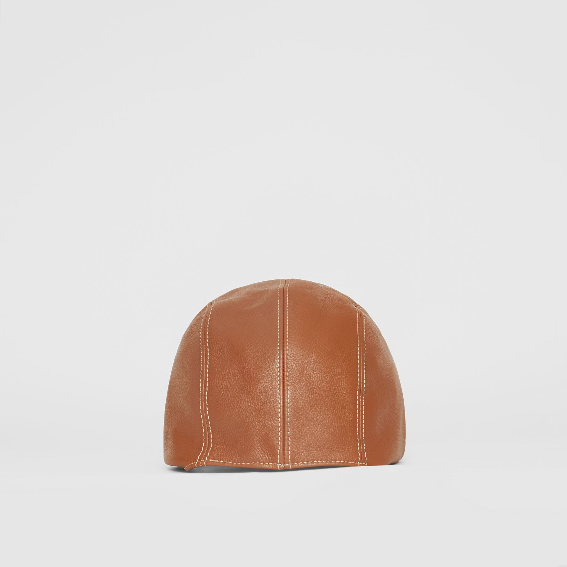 Leather Pilot Cap in Toffee | Burberry United Kingdom - gallery image 3
