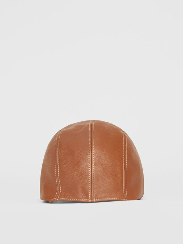 Leather Pilot Cap in Toffee | Burberry - cell image 3