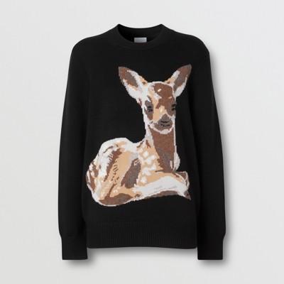 Deer Intarsia Wool Sweater in Black Women   Burberry
