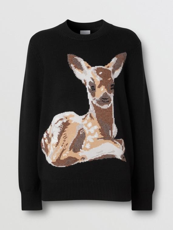 Deer Intarsia Wool Sweater in Black