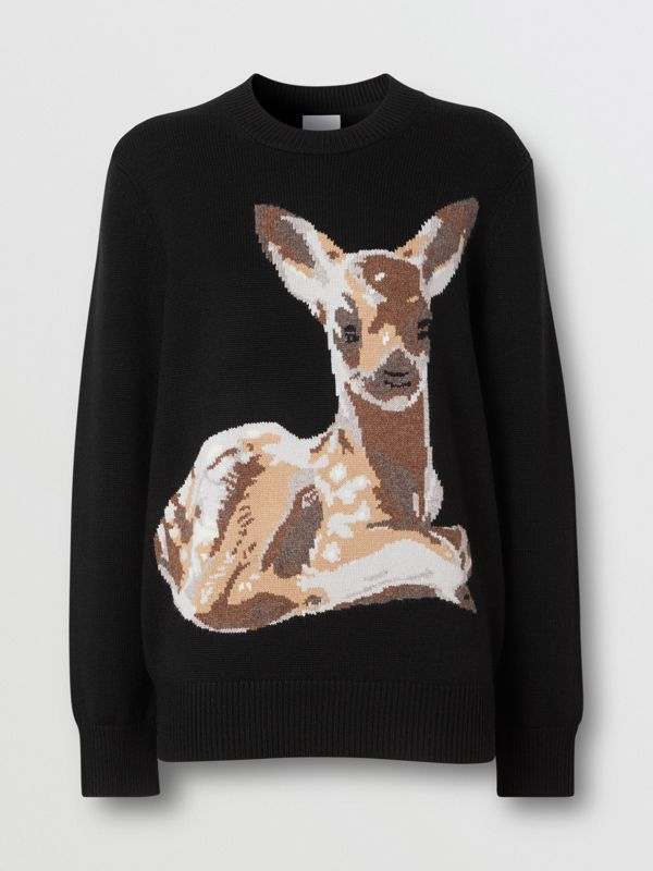 Deer Intarsia Wool Sweater in Black | Burberry - cell image 3