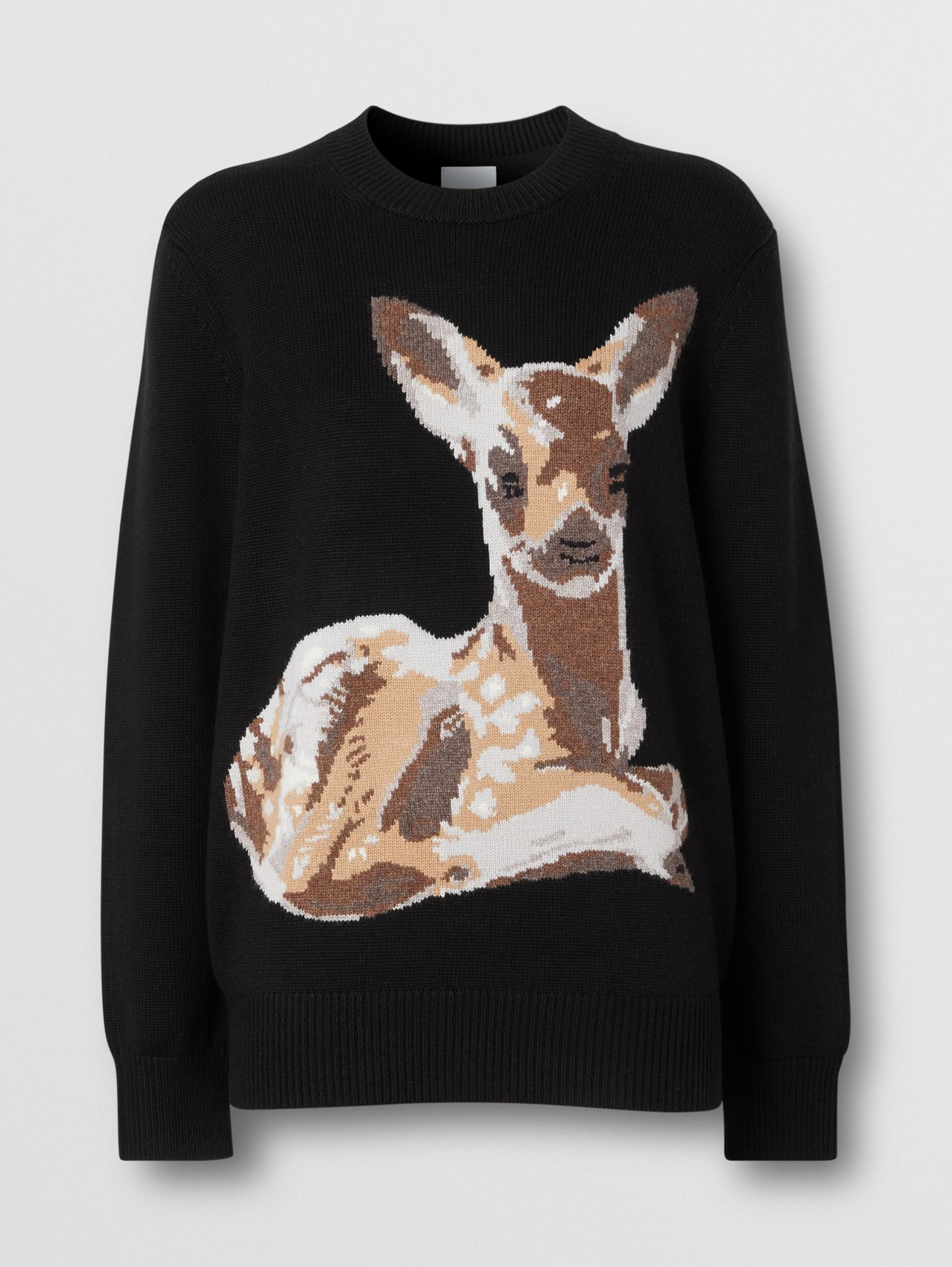 Deer Intarsia Wool Sweater (Black)