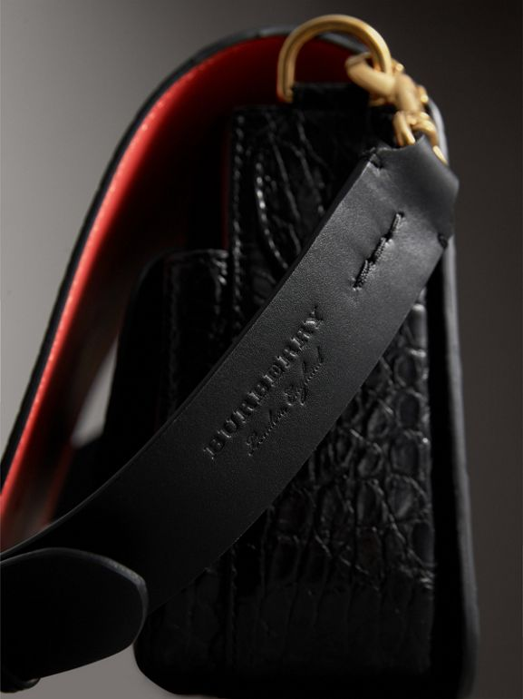 The Square Satchel in Alligator in Black - Women | Burberry United Kingdom - cell image 1