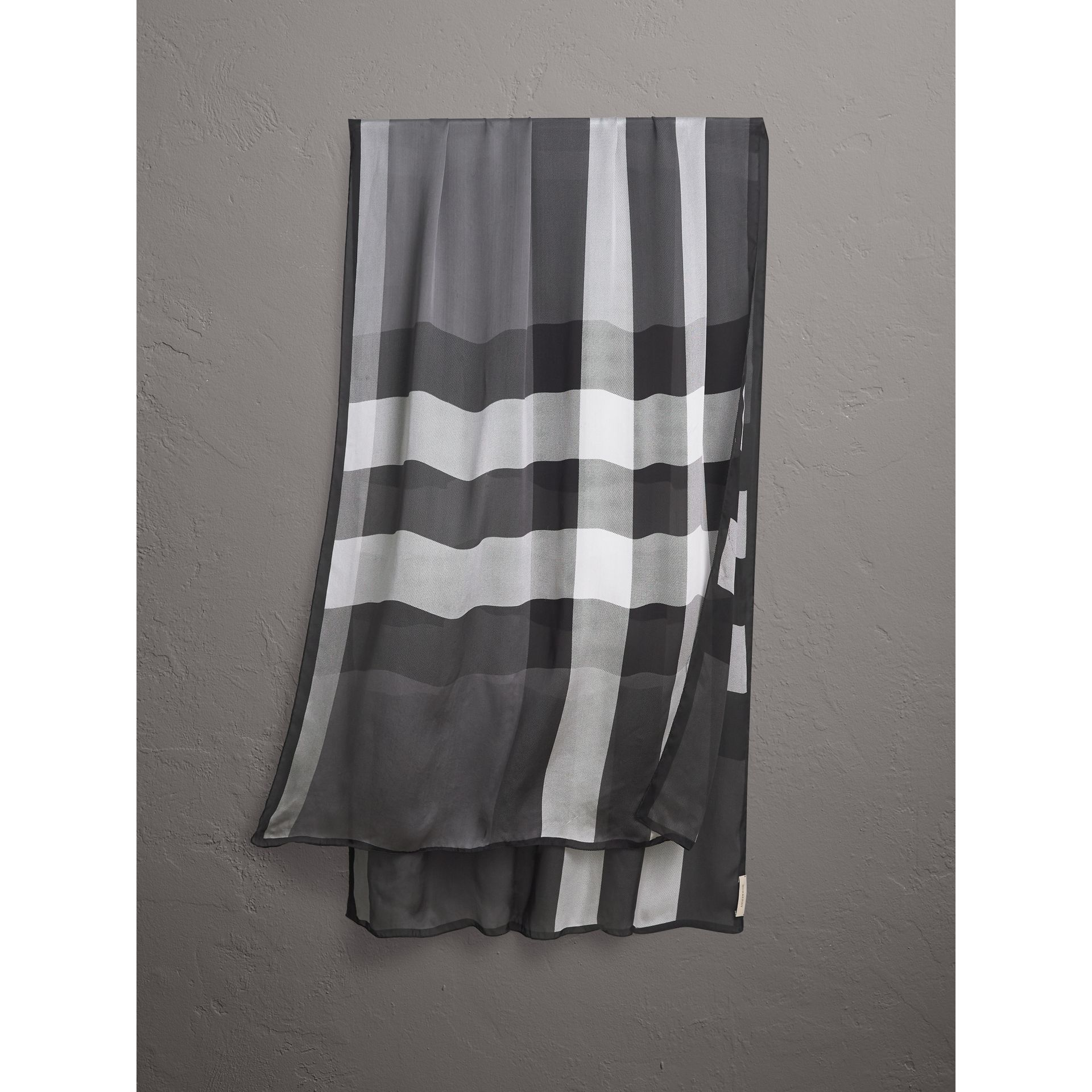 Lightweight Check Silk Scarf in Mid Grey - Women | Burberry - gallery image 0