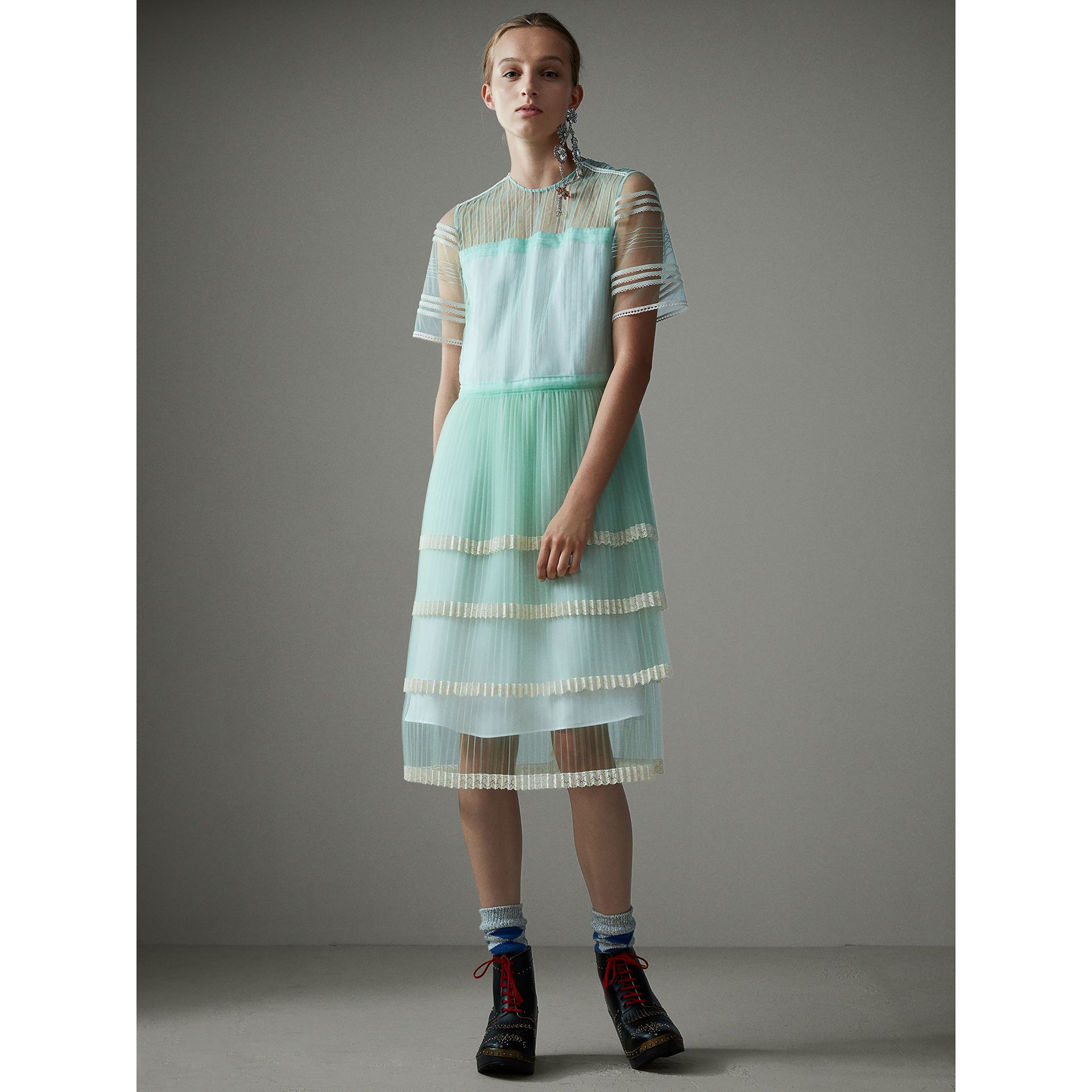 English Lace Trim Pleated Tulle Dress in Light Mint - Women | Burberry - gallery image 1