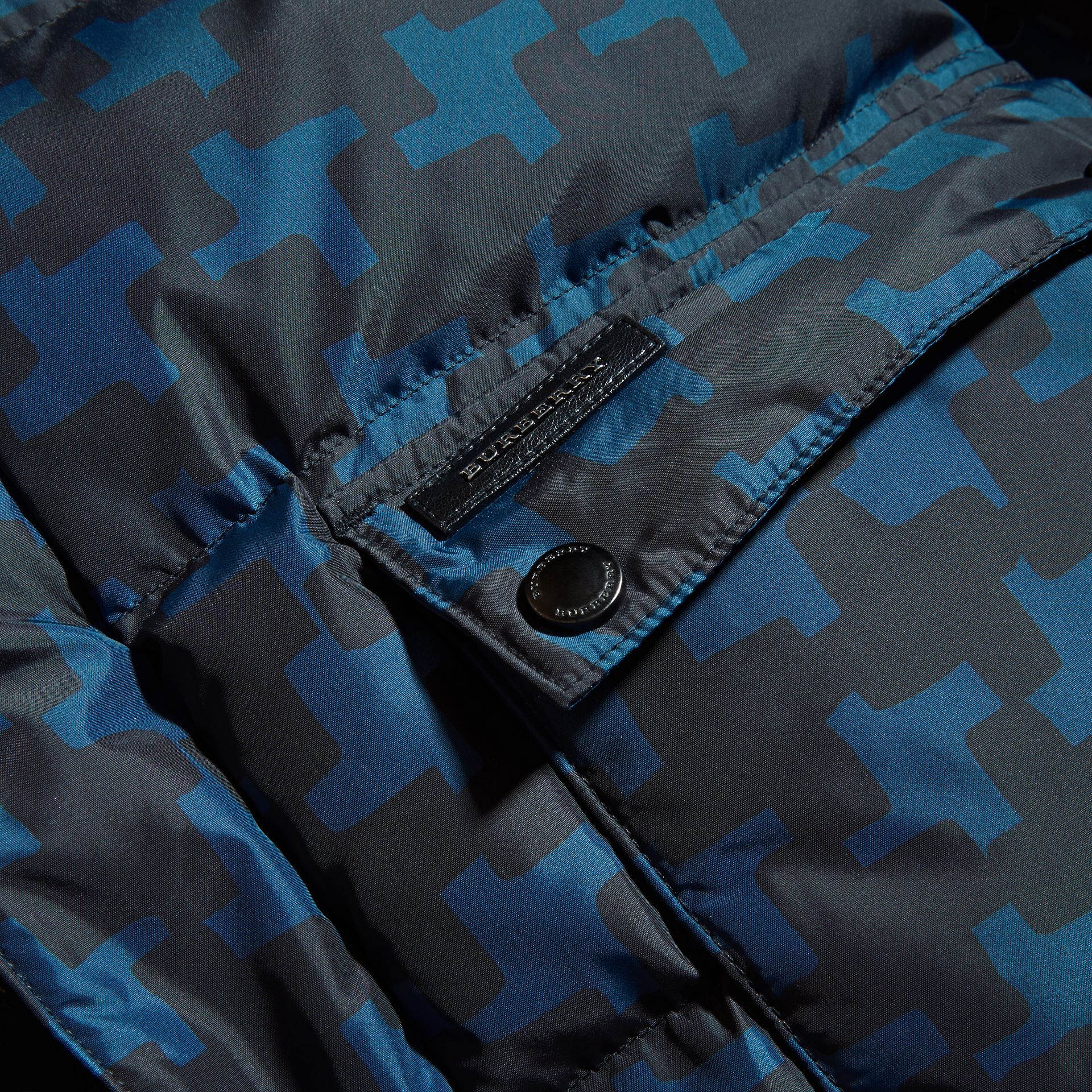 Mineral blue Printed High-shine Down-filled Puffer Coat - gallery image 2