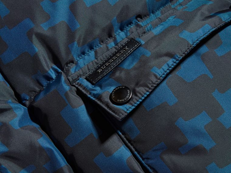 Mineral blue Printed High-shine Down-filled Puffer Coat - cell image 1