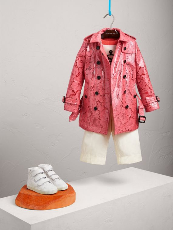 Laminated Lace Trench Coat in Bright Pink