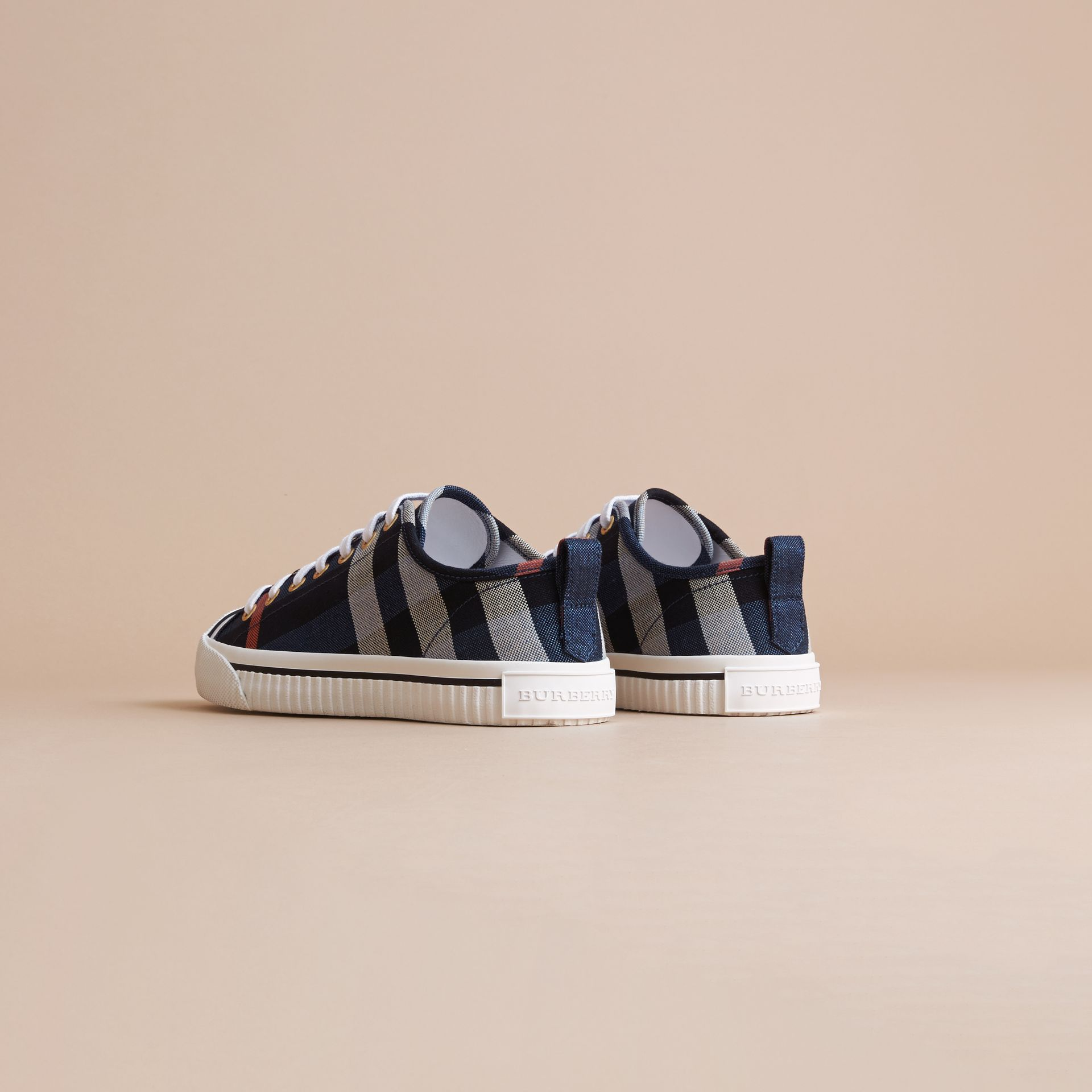 Check Linen Cotton Trainers in Ink Blue - Women | Burberry - gallery image 4