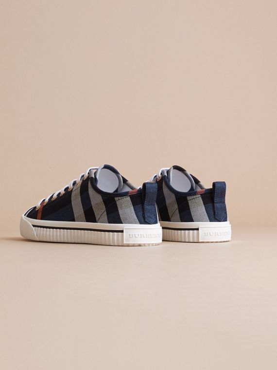 Check Linen Cotton Trainers in Ink Blue - Women | Burberry - cell image 3