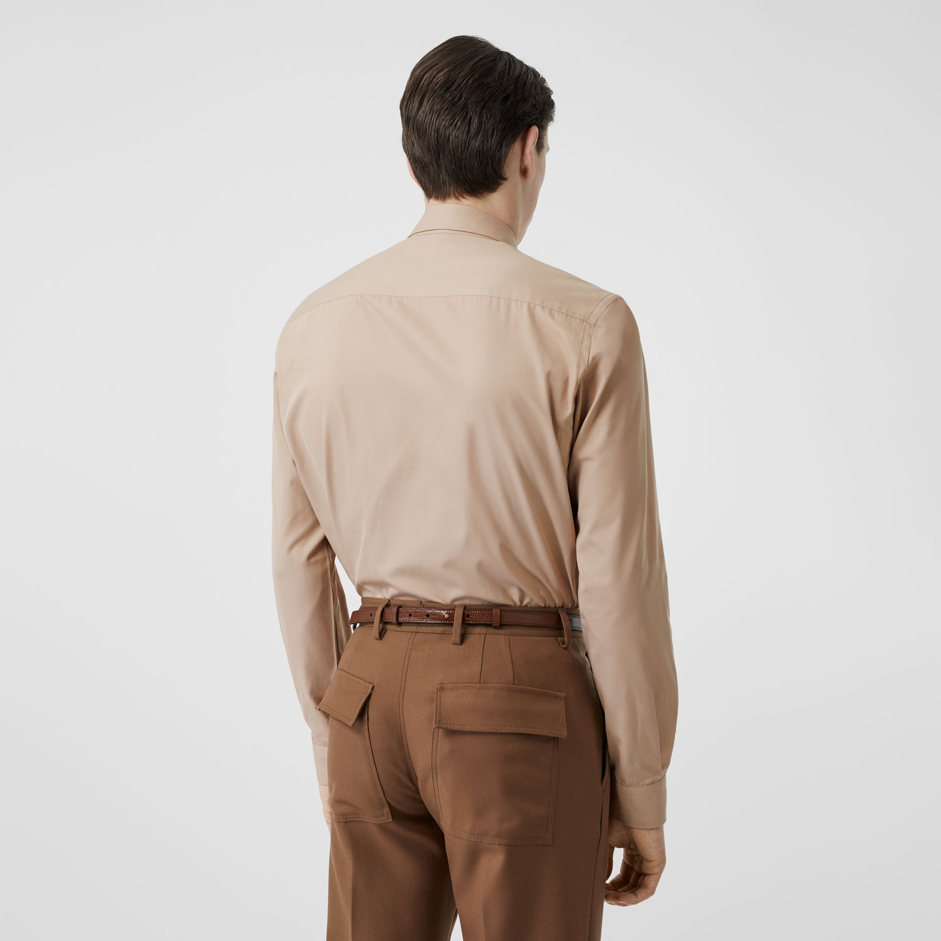 Classic Fit Zip Detail Cotton Twill Shirt in Soft Fawn - Men | Burberry - gallery image 2
