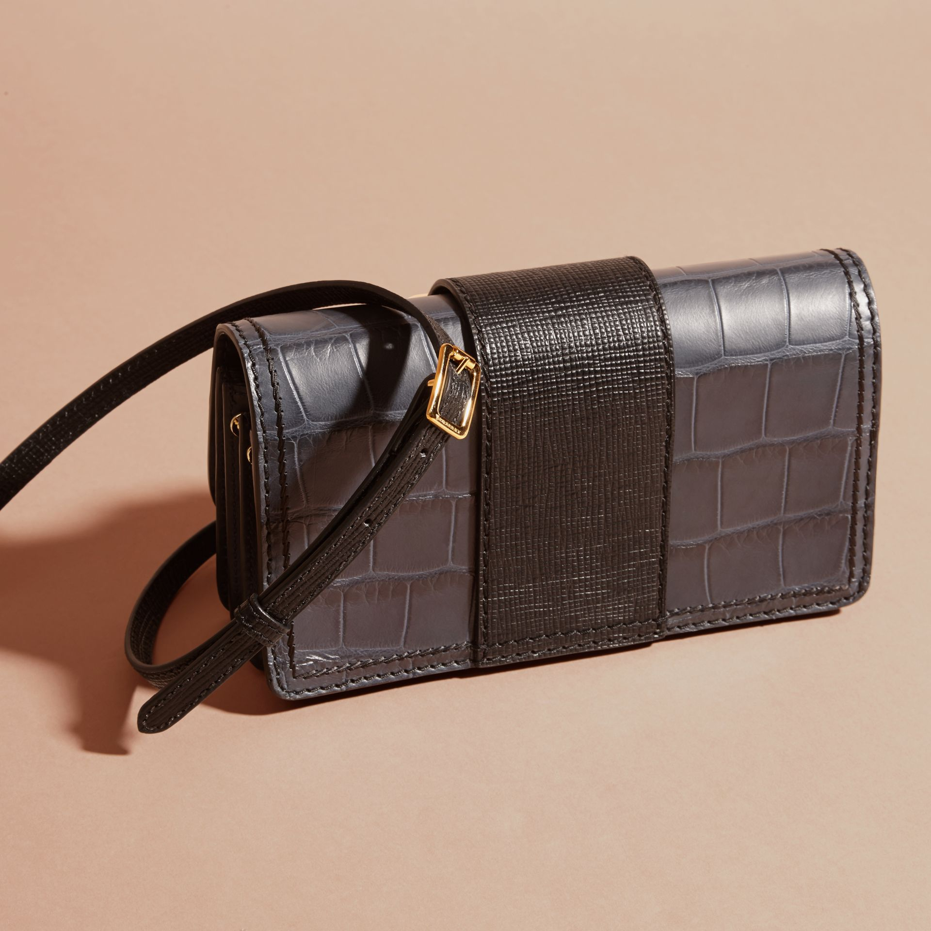 The Small Buckle Bag in Alligator and Leather in Navy / Black - gallery image 5