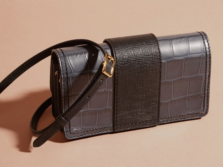 The Small Buckle Bag in Alligator and Leather in Navy / Black - Women | Burberry Canada - cell image 4