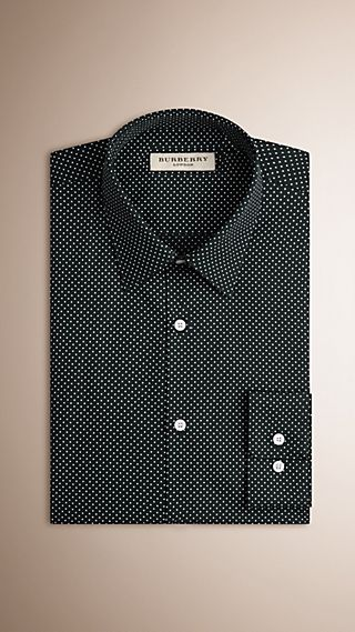 Slim Fit Polka Dot Cotton Shirt