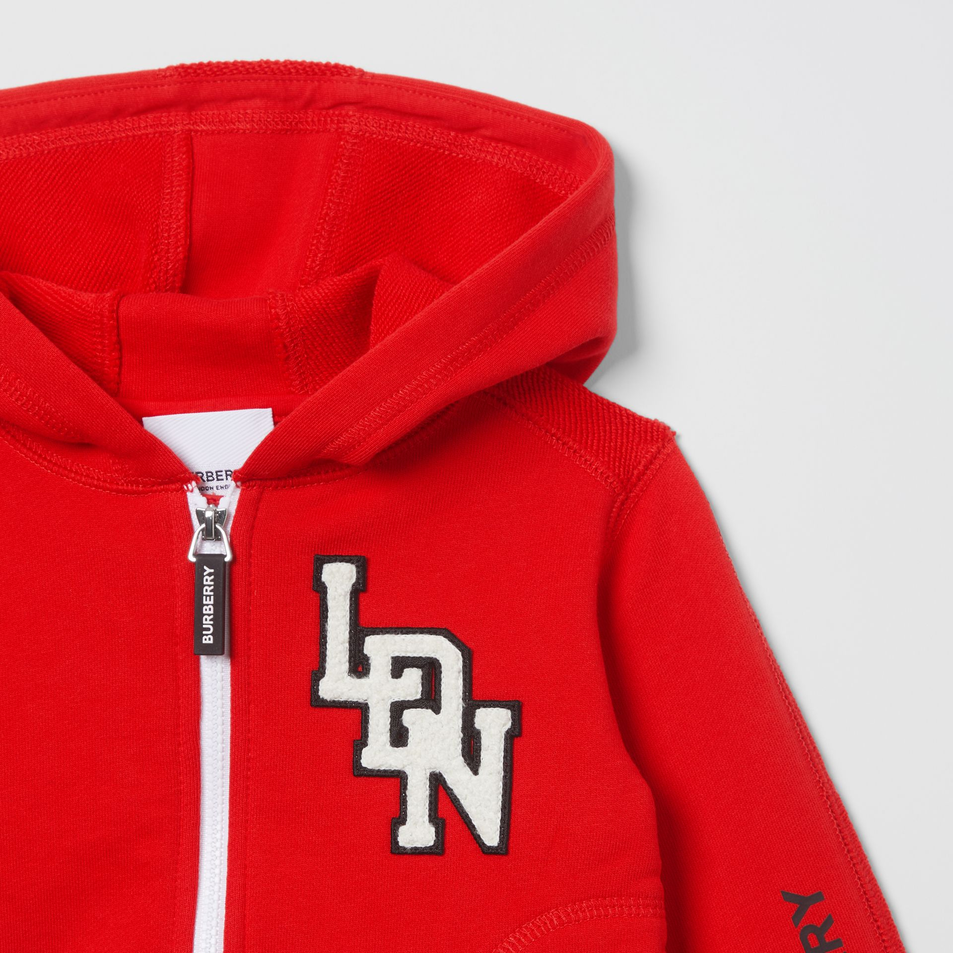 Logo Graphic Cotton Hooded Top in Bright Red - Children | Burberry United Kingdom - gallery image 4