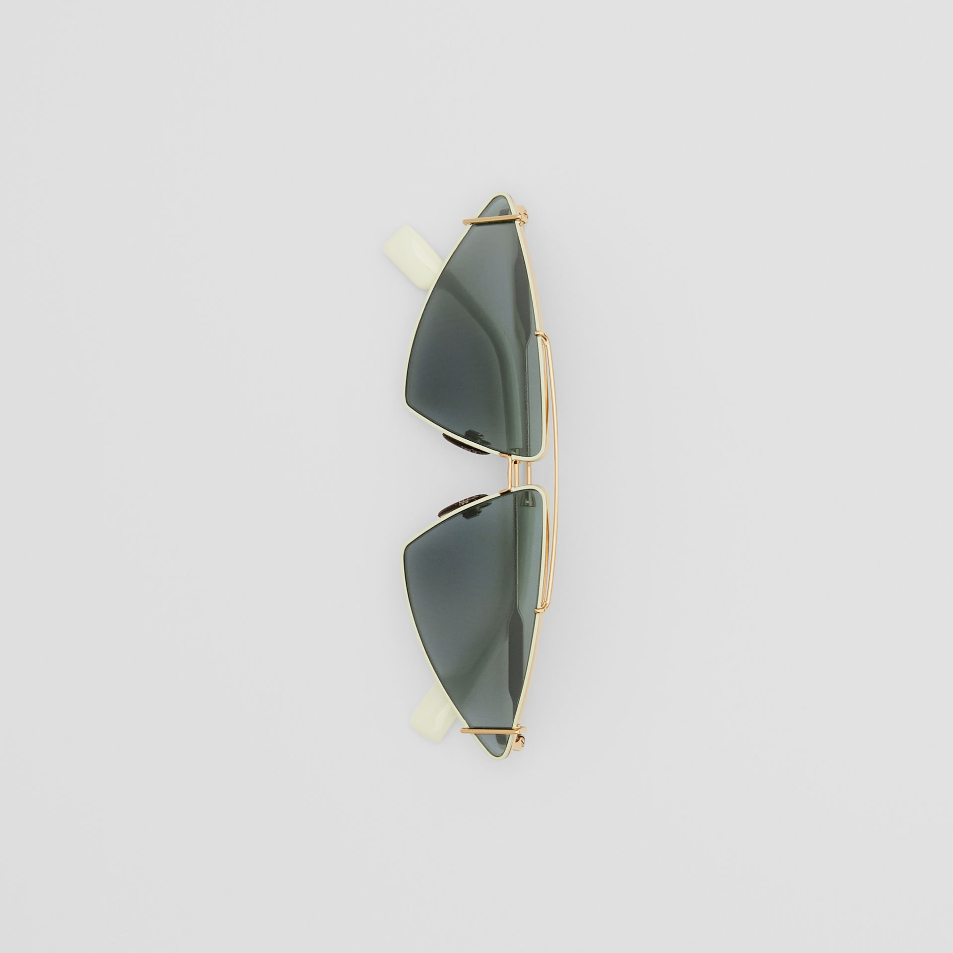 Gold-plated Triangular Frame Sunglasses in Pistachio - Women | Burberry - gallery image 3
