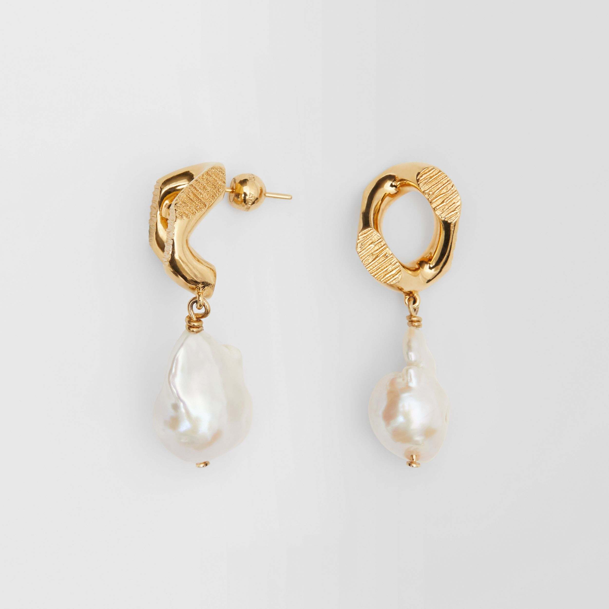 Pearl Detail Gold-plated Chain-link Earrings in Light Gold/white - Women | Burberry - 4
