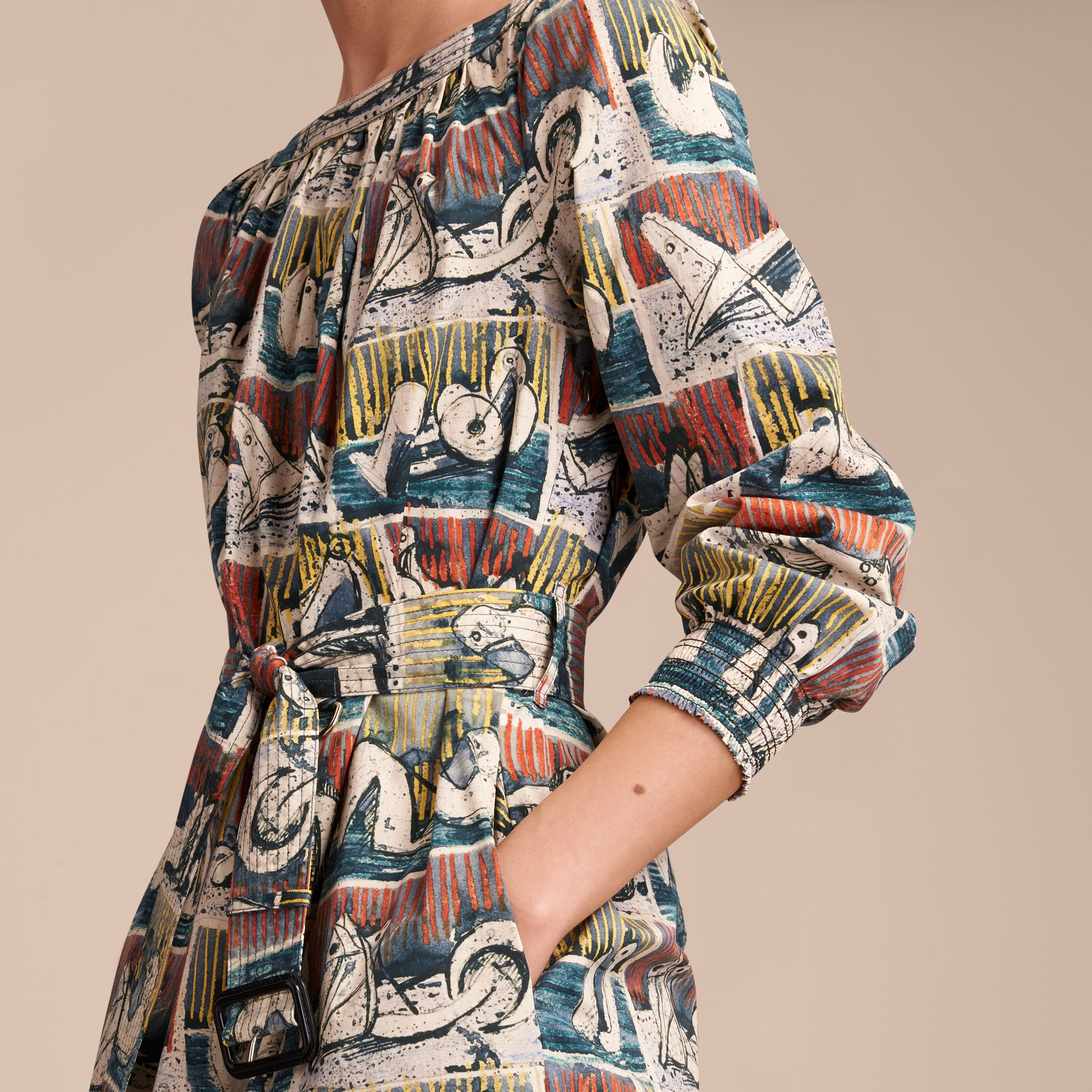 Reclining Figures Print Cotton Tunic Dress in Stone Blue - Women | Burberry - gallery image 4