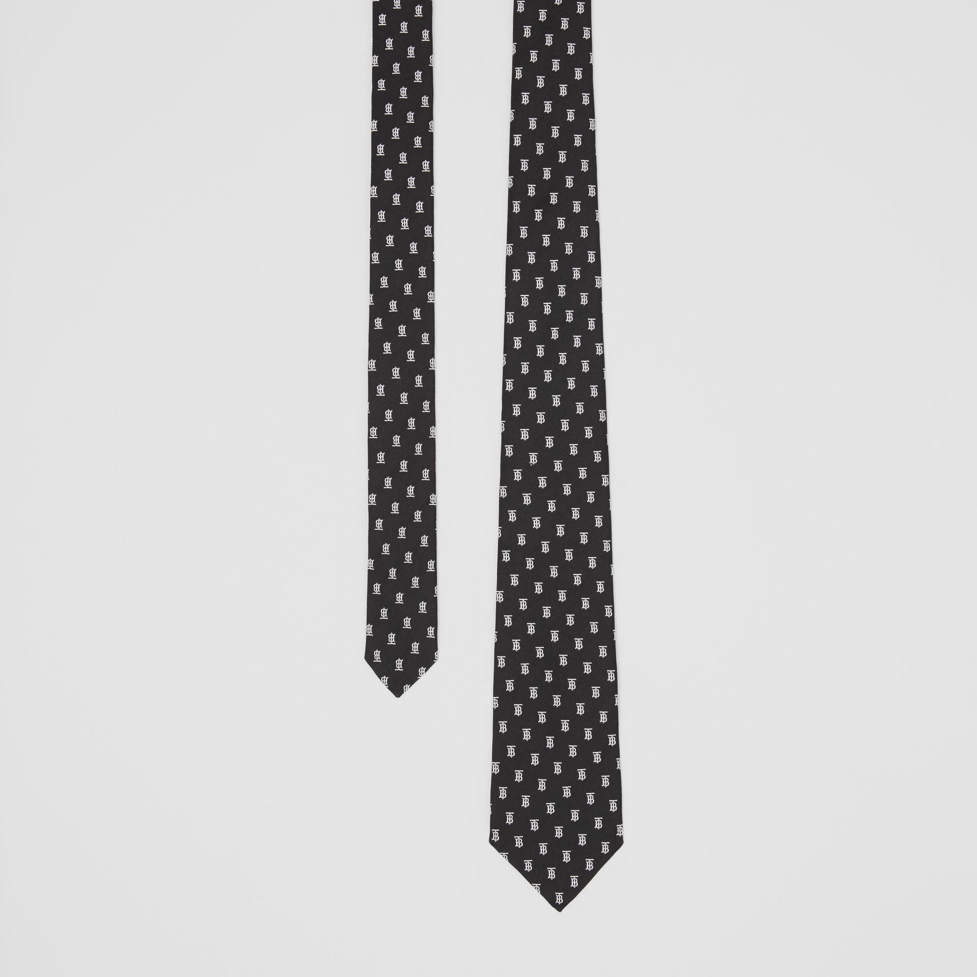 Classic Cut Monogram Motif Silk Jacquard Tie in Black - Men | Burberry United Kingdom - gallery image 0