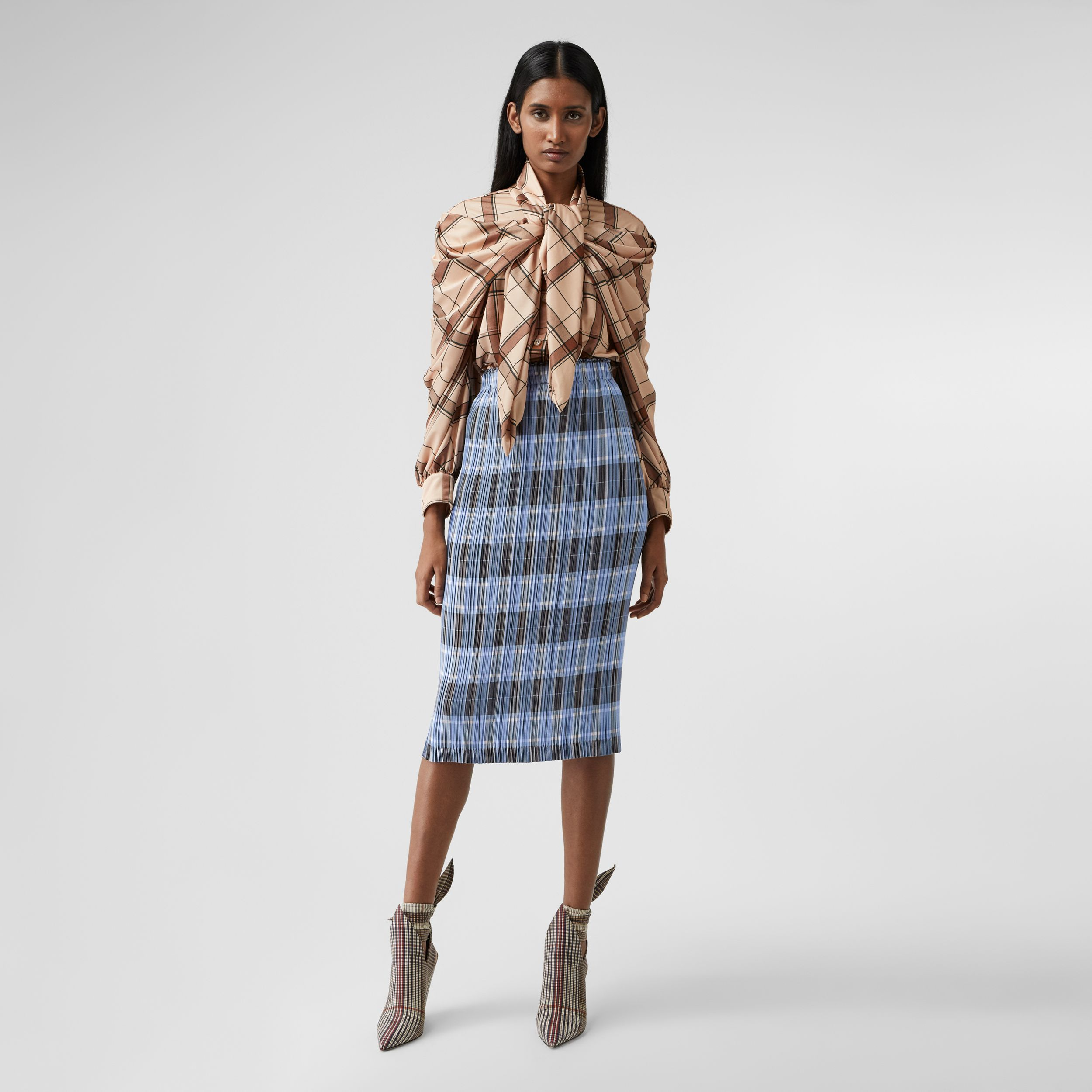 Check Plissé Skirt in Pale Blue - Women | Burberry United States - 1