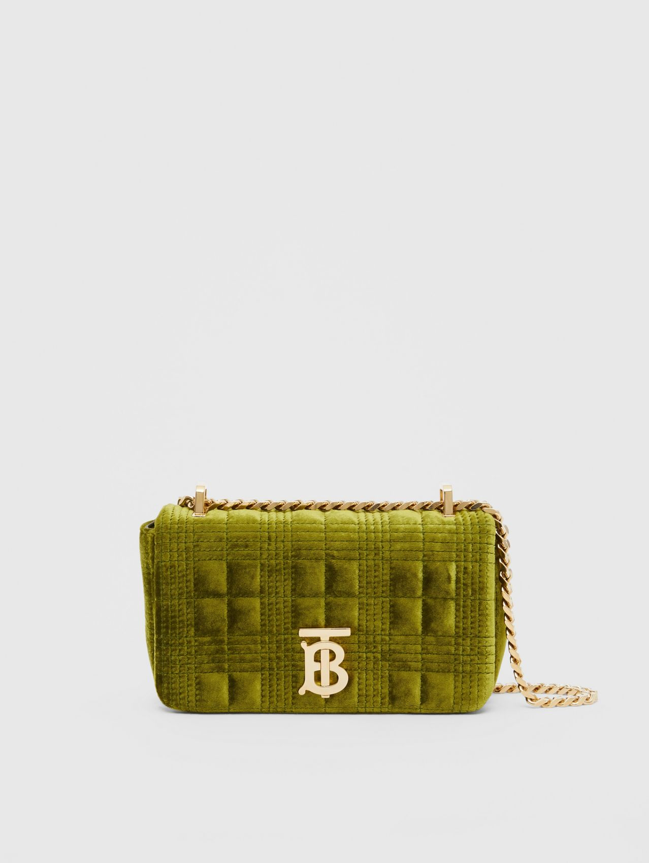 Mini Quilted Velvet Lola Bag in Juniper Green