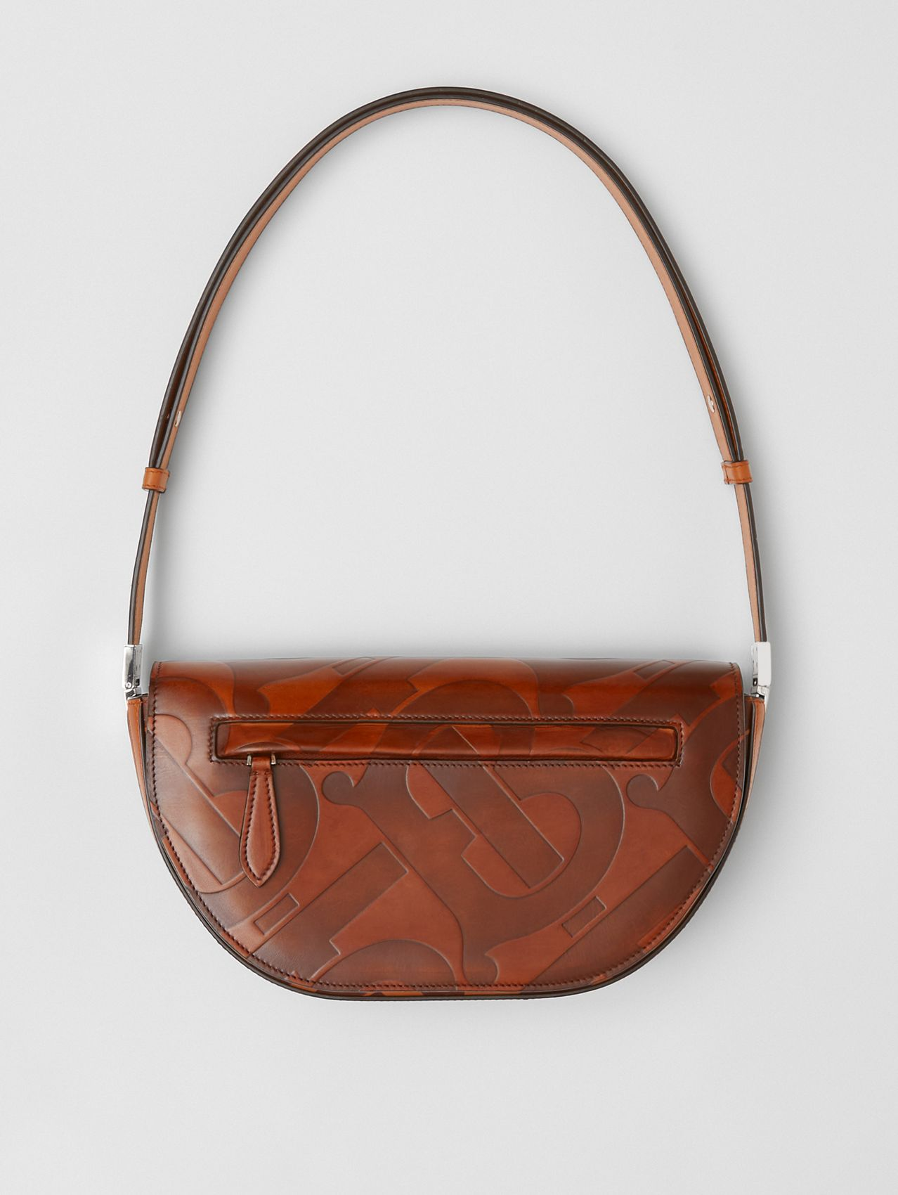 Small Embossed Monogram Leather Olympia Bag in Briar Brown
