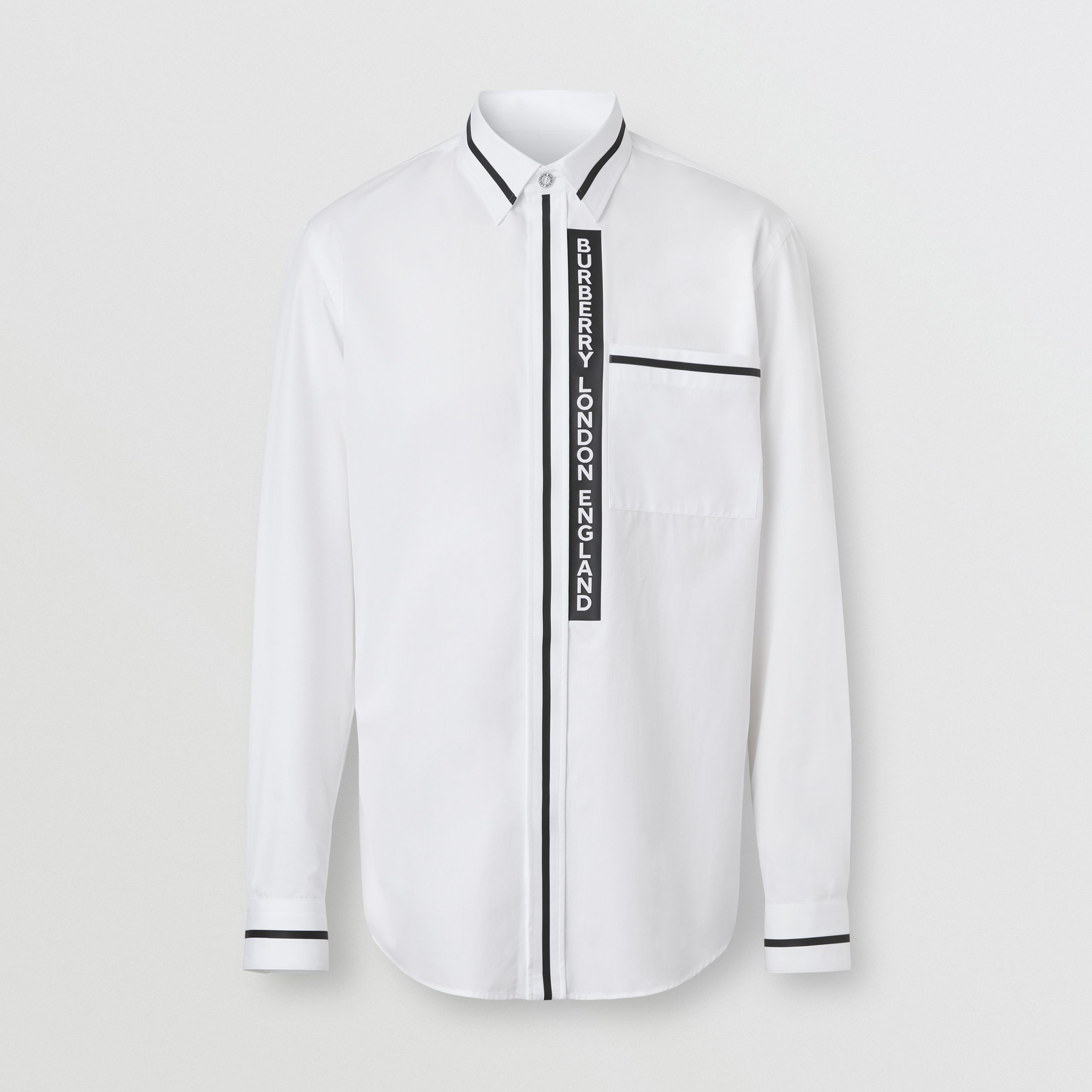 Logo Appliqué Cotton Poplin Shirt in Optic White - Men | Burberry - 4