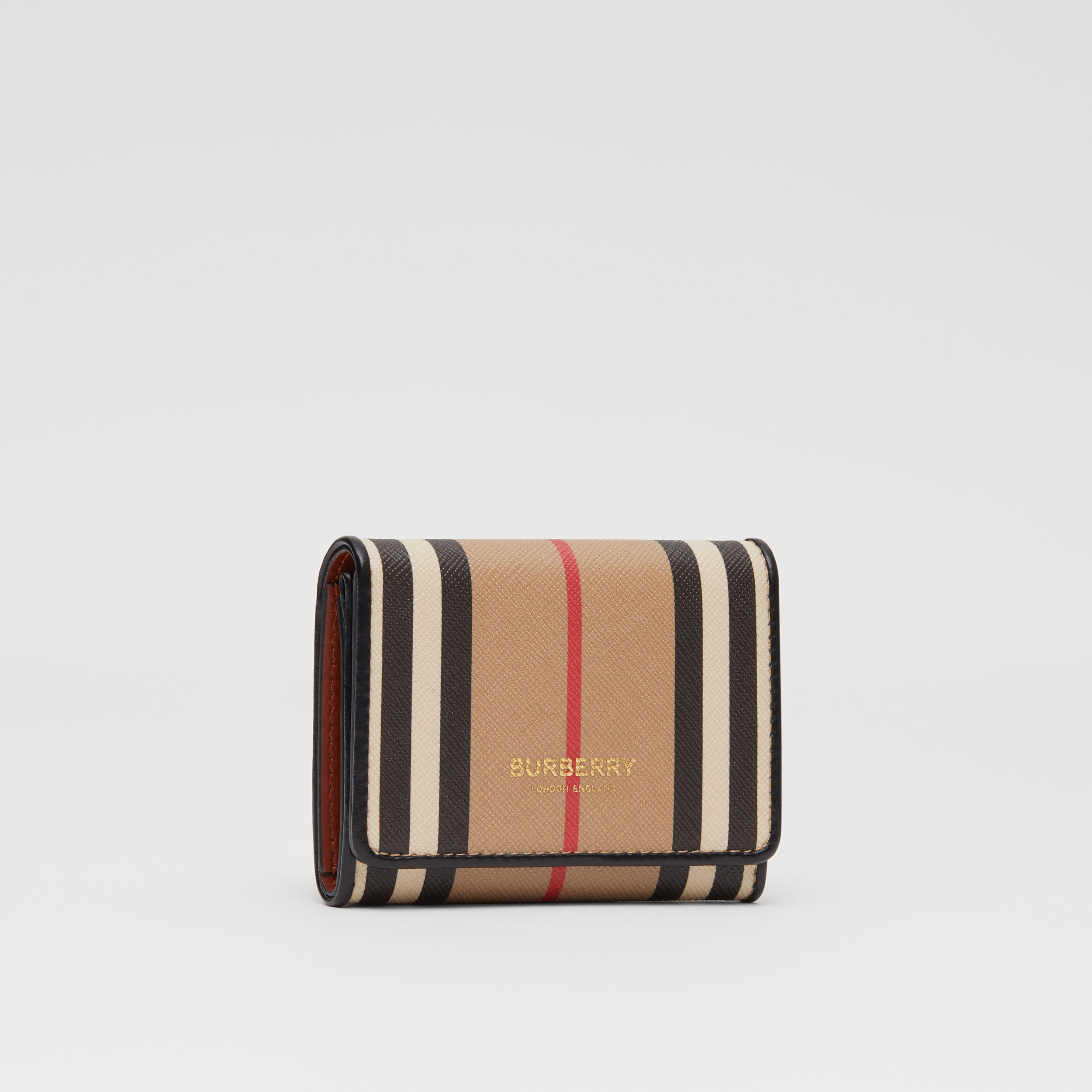 Porta carte di credito in e-canvas con iconico motivo a righe (Beige Archivio) - Donna | Burberry - 4