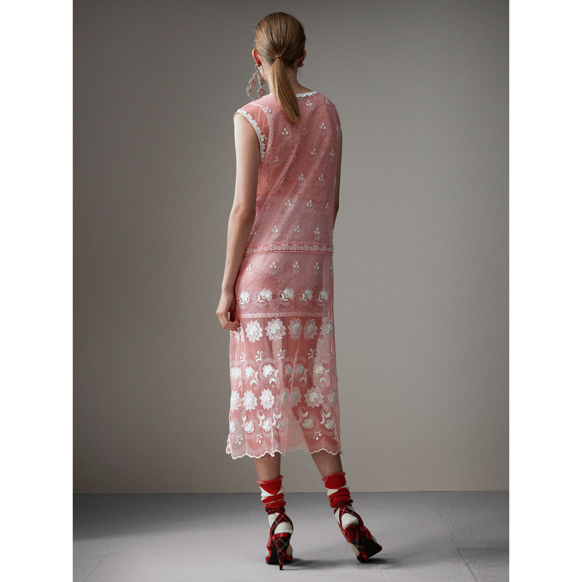 Sleeveless Chantilly Lace Embroidered Tulle Dress in Rose Pink/white - Women | Burberry United States - gallery image 2