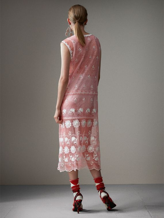 Sleeveless Chantilly Lace Embroidered Tulle Dress in Rose Pink/white - Women | Burberry United States - cell image 2