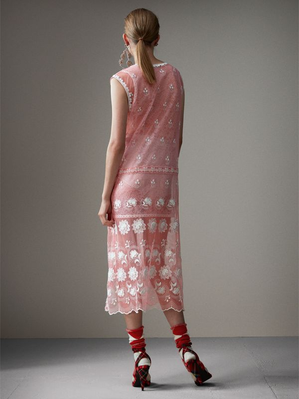 Sleeveless Chantilly Lace Embroidered Tulle Dress in Rose Pink/white - Women | Burberry - cell image 2