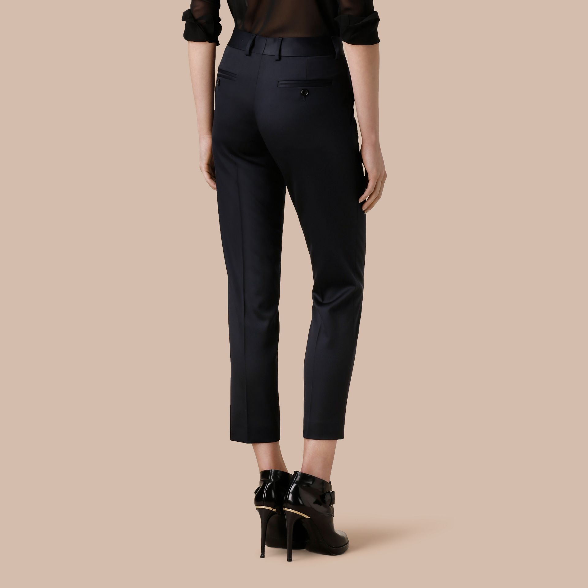 Cropped Stretch Wool Tailored Trousers - gallery image 3