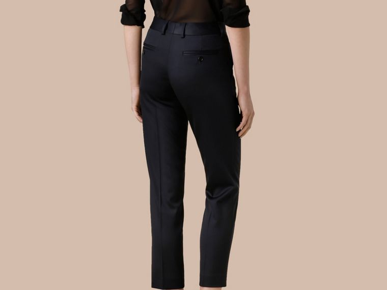 Cropped Stretch Wool Tailored Trousers - cell image 2