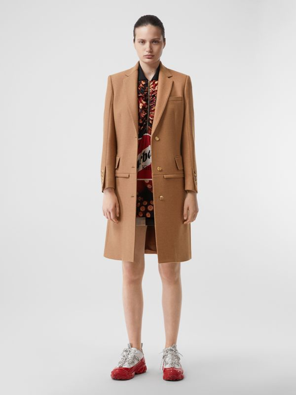 Camel Hair Tailored Coat with Detachable Gilet in Bronze - Women | Burberry - cell image 2