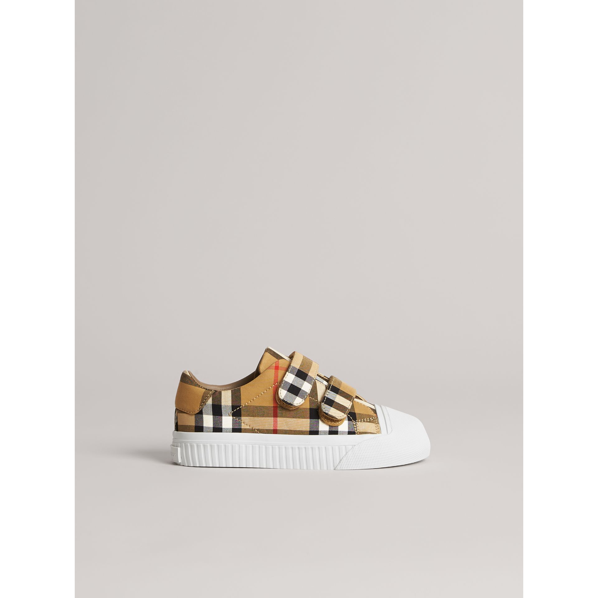 Vintage Check and Leather Sneakers in Antique Yellow/optic White | Burberry Australia - gallery image 3