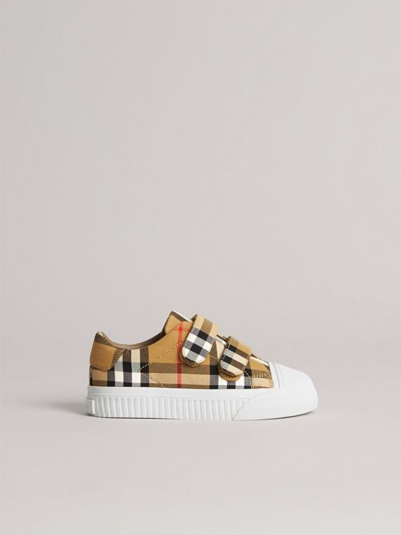 Vintage Check and Leather Sneakers in Antique Yellow/optic White | Burberry Canada - cell image 3
