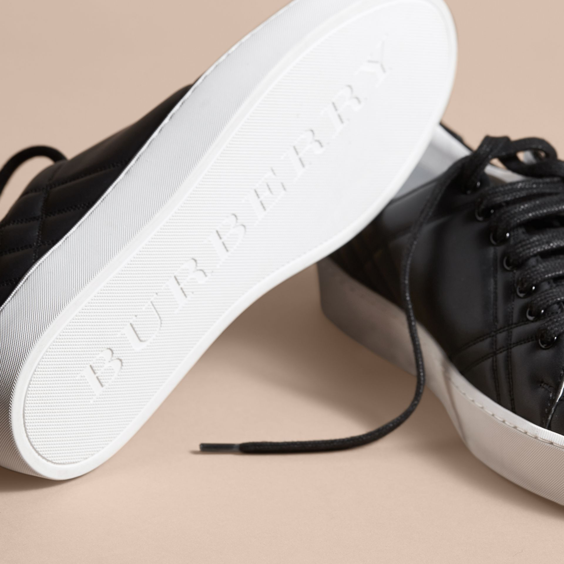 Check-quilted Leather Trainers in Black - Women | Burberry Canada - gallery image 5