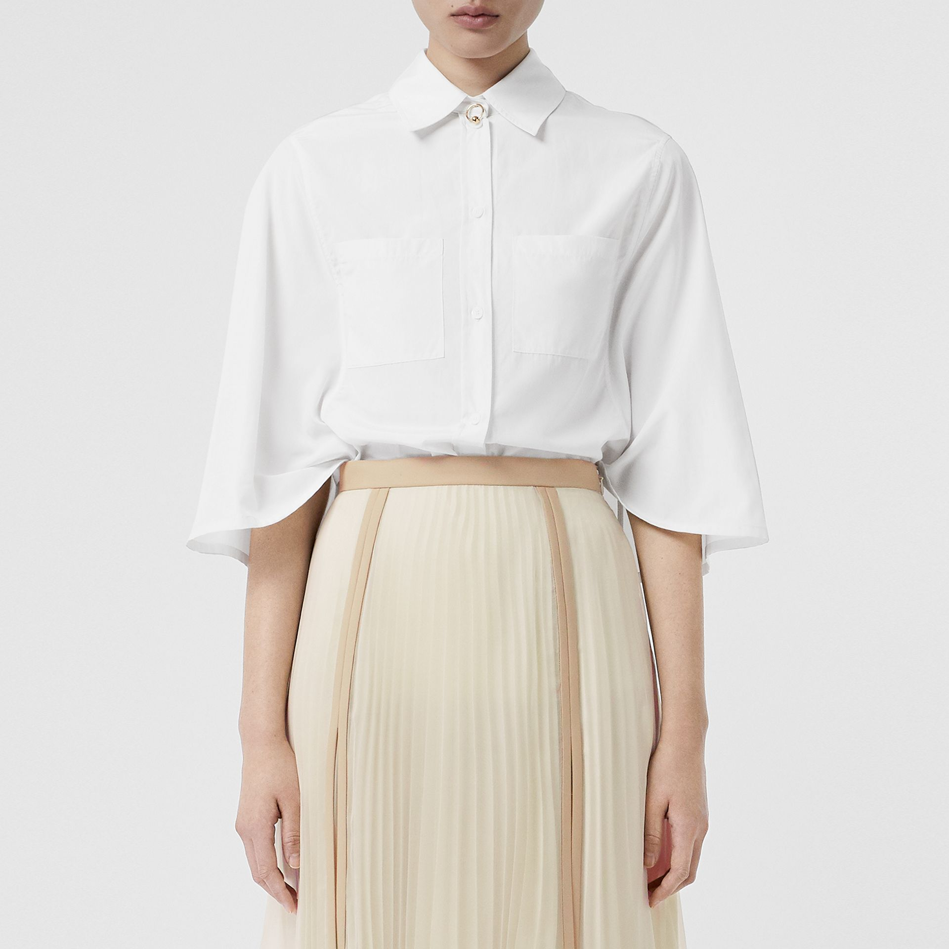 Silk Cotton Capelet Shirt in Optic White - Women | Burberry Singapore - gallery image 5