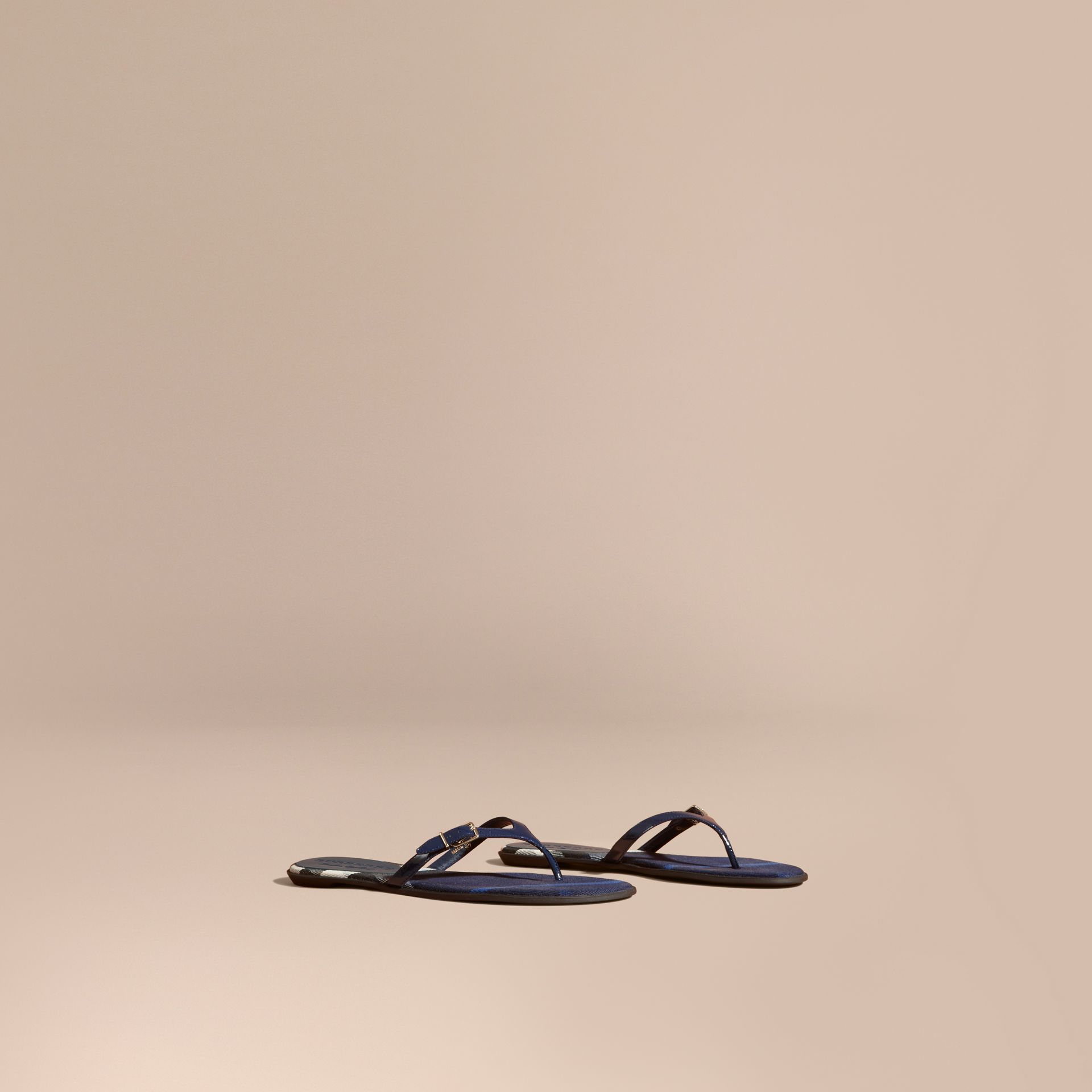 House Check and Patent Leather Sandals in Indigo Blue - Women | Burberry Australia - gallery image 1