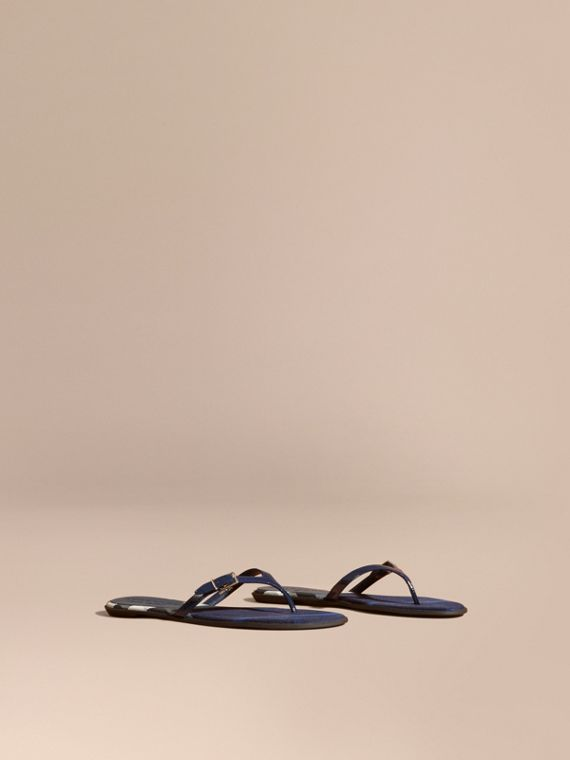House Check and Patent Leather Sandals in Indigo Blue