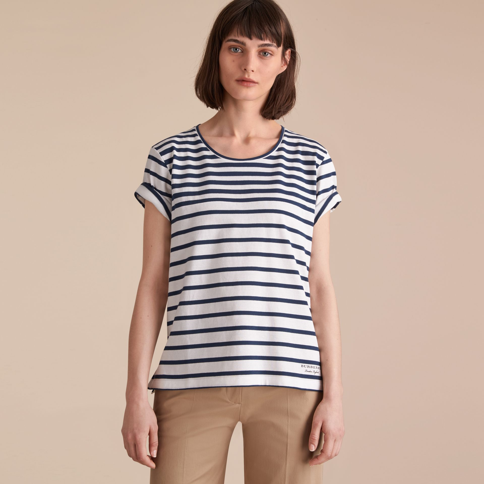 Breton Stripe Cotton T-shirt in Navy/white - Women | Burberry - gallery image 6